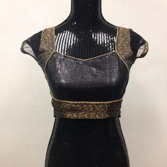 Party Wear Custom Made Blouse - Black & Golden