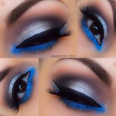 That pop of blue under the eye really adds to this smokey grey and purple eyeshadow look