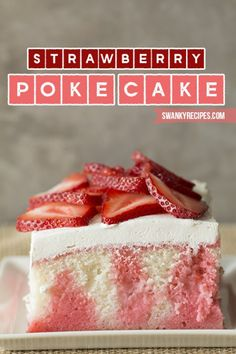 Poke cakes are all the new rage right now!  This super trendy cake is made with white cake and filled with plenty of good strawberry flavors.