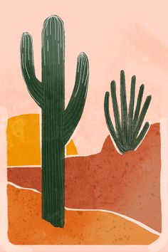 Minimal Desert Graphic Desgin - prints and col·our - Muted colors cactus desig. - Minimal Desert Graphic Desgin – prints and col·our – Muted colors cactus design – - Kunst Inspo, Art Inspo, Art And Illustration, Cactus Illustration, Illustrations, Small Canvas Art, Photo Wall Collage, Muted Colors, Art Drawings