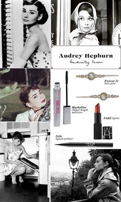 Audrey Hepburn Beauty Icon:  simple, chic, classic style. Audrey's look was clean and polished.  To recreate her look, use a liquid liner to create a thin cat-eye along your top lashes before applying several coats of mascara. Pull your hair off your face with a hairclip as chic as Ms. Hepburn herself, and finish the whole look off with a burst of berry color on your lips.