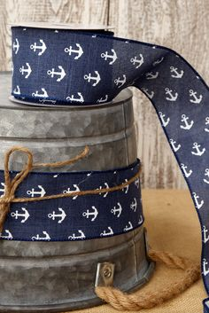 Canvas Ribbon White Anchors 2.5in