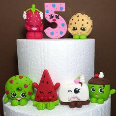 Shopkins Birthday Cake Topper. Fondant Shopkins cake decoration. Edible Shopkins Number