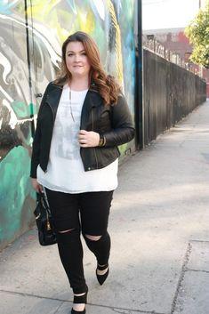 Plus Size Fashion - lovely in la leather moto jacket lane bryant