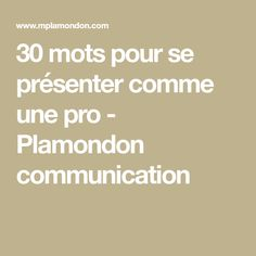 30 mots pour se présenter comme une pro - Plamondon communication