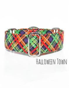 Orange Lime Plaid Halloween Dog Collar, Greyhound, whippet, great dane, boxer, french bull dog, pit bull and other breeds dog collar, by CollarTown, $18.50