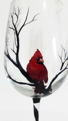 Cardinal Snowy Tree Branches Hand Painted di LKCustomCreations