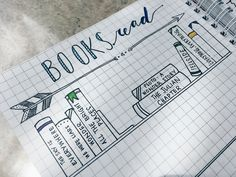 A cute bullet journal spread idea - a books read list with cute little illustrations and doodles!