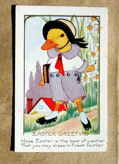 Duck, Duckling Cartoon Easter Greeting Vintage Postcard, Early 1900s
