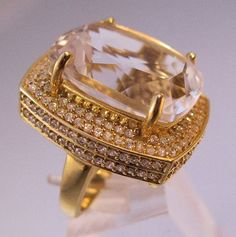$119.00 Huge Rock Quartz Crystal & White Sapphire Ring Designer Sterling Vermeil Size 6 Vintage Jewelry Jewellery FREE SHIPPING by BrightEyesTreasures on Etsy