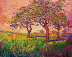 Coral Dawn, original oil painting in a contemporary impressionist style, by Erin Hanson. Erin Hanson, Oil Painting For Sale, Large Painting, Landscape Art, Landscape Paintings, Landscapes, Oil Pastel Paintings, South African Art, Modern Impressionism