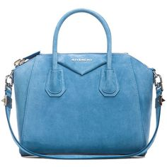 GIVENCHY Small Antigona (5.825 BRL) ❤ liked on Polyvore featuring bags, handbags, givenchy, blue leather bag, leather handbags, blue purse, blue leather handbag and givenchy purse