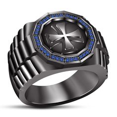 925 sterling silver Round Cut Lab Created Blue Sapphire Cross Mens Ring