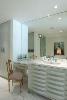 such elegant modern with antique twists in this bathroom by Julie Molnar  photo Heather Ross as seen in H