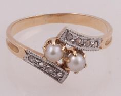 Victorian pearl and diamond ring.