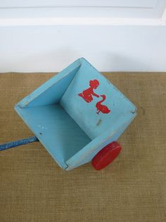 Vintage Children Toy Wood Girl Boy Push Blue Red