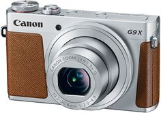 Canon Powershot G9 X Premium Digital Compact Camera Won the Prestigious Red Dot International Design Award 2016. Above: Canon PowerShot G9 X, silver-gray body with brown stitched leather accents http://www.photoxels.com/canon-powershot-g9-x-red-dot-design-award-2016/