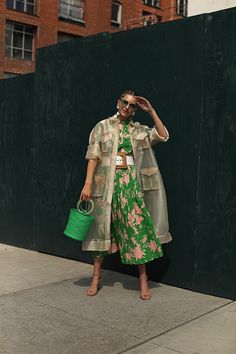 Spring layers // Blair Eadie wearing a transparent trench by Ganni, green bucket bag by Simon Miller, and green top and skirt by Topshop // Click through for more spring outfit ideas and how to wear green looks on Atlantic-Pacific Polyvore Dress, Polyvore Outfits, Love Fashion, Fashion Looks, Fashion Outfits, Dress Outfits, Dresses, Fashion Tips, Spring Shoes