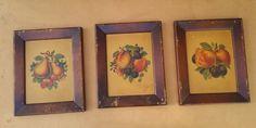 Rustic Fruit Prints / Vintage Fruit Prints  60s by DameWhoFrames