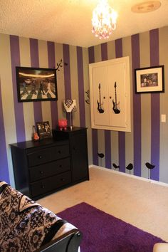 Not having a baby anytime soon but i love this idea for a boy nursery! Luv the purple white & black with Beatles accents