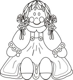 Doll wearing a dress, bows in hair, buttons on dress