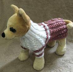 Ropa para mascotas ropa traje suéter de punto Cable puente para perros pequeños de la mano de punto tamaño XS