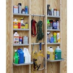 This 48 in. x 48 in. VersaCaddy Exposed Stud Wall kit can be used in any open stud structure or unfinished wall. Great for garages, carports or a utility sheds. This Exposed Stud wall kit is designed Storage Shed Organization, Garage Tool Storage, Garage Shed, Workshop Storage, Garage Tools, Garage Workshop, Secure Storage, Garage Shelving, Garage Office
