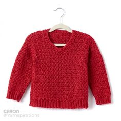 Child's Crochet V-Neck Pullover | Yarnspirations  ||  ♡ GREAT PATTERN! STILL CAN'T GET OVER THE FACT THAT THE RIBBED SLEEVES ARE CROCHET!!! ♥A