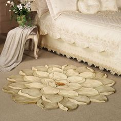 Melanie Magnolia Round Flower Rug - Floral Rugs - Area Rugs - Touch Of Class Floral Area Rugs, Floral Rug, Floor Art, Floor Rugs, Floor Cloth, Wood Floor, Tapete Floral, Mantel Redondo, Beautiful Bedrooms
