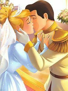 *CINDERELLA & PRINCE CHARMING ~ Cinderella, 1950 Arte Disney, Disney Magic, Disney Art, Disney Pixar, Disney Kiss, Cinderella And Prince Charming, Disney Princess Cinderella, Cinderella Birthday, Disney Couples