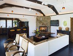 Driftwood fireplace