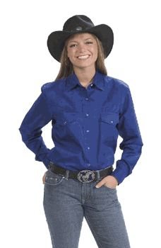 Women's Long Sleeve Blue Western Shirt With Pearlized Snaps. Sizes: S M L XL XXL