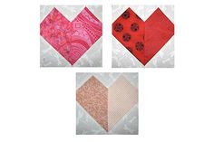 Try this easy patchwork hearts quilt block pattern for Valentine's Day or any other day you want to say I Love You to a friend or family member.