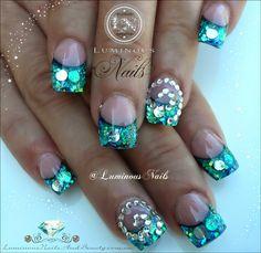 Luminous Nails: Paua Shell Effect Nails with Crystal Spirals...