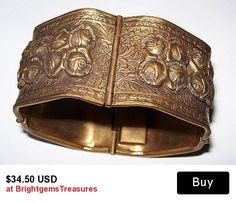 "Art Nouveau Bracelet Brass Repousse Panel Link Style Chunky 1 1/4"" W Vintage"