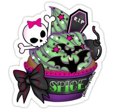 "This would be the cutest little halloween inspired tattoo. I'd get it without the word ""spice,"" no bomb or tombstone, and I'd change the skull to an orange jack o' lantern!"