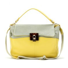 Lanvin For Me Two Tone Leather Shoulder Bag ($1,575) ❤ liked on Polyvore featuring bags, handbags, shoulder bags, carteras, purses, sea green yellow, hand bags, shoulder strap handbags, yellow leather handbag and summer purses