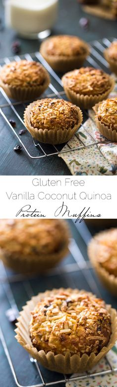 Coconut Quinoa Protein Muffins - A super easy, healthy snack or on-the-go breakfast that is gluten free and ready in 30 minutes! Even my husband LOVES these!