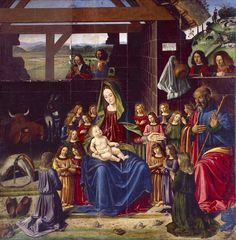 The Nativity, Andrea Mantegna Size: cm Renaissance Artists, Italian Renaissance, Andrea Mantegna, Fra Angelico, Religious Paintings, Postcard Template, Italian Painters, Art Database, Cultural