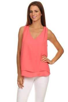 Coral Woodobe Solid V Neck Pleated Shoulder Cut Out Layered Tank | Southern Shine Mobile Boutique
