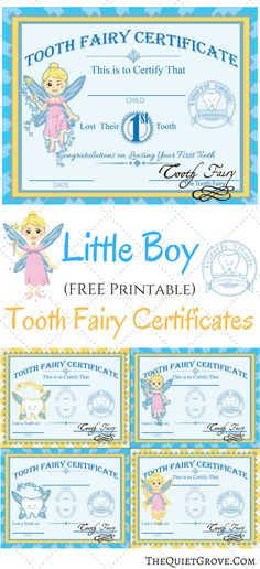 These FREE Printable Tooth Fairy Certificates (Use alone or with a special gift) are a perfect way to celebrate your children losing their baby teeth!
