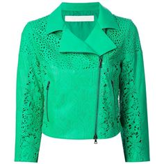 Drome lazer cut leather jacket ($890) ❤ liked on Polyvore featuring outerwear, jackets, coats, green, genuine leather jacket, zip front jacket, green jacket, cropped jacket and real leather jacket