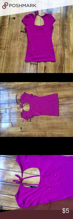 EXPRESS sexy basic tee medium Ties in the back, scoop neck, pink Express Tops Tees - Short Sleeve