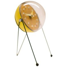 Mid-Century Modern enamel steel and perspex table clock: Atomic-inspired design in the style of George Nelson Mid Century Modern Table, Mid Century Decor, Mid Century Furniture, Mid Century Design, Modern Clock, Mid-century Modern, Cool Clocks, Unusual Clocks, George Nelson