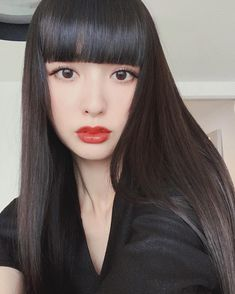 Pin by Wacoca on WaCoca in 2020 Girls With Black Hair, Long Black Hair, Short Black Hairstyles, Hairstyles With Bangs, Black Hair Bangs, Hair Colour Design, Beauty Regimen, Hair Reference, Japan Girl