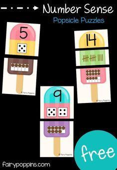 These free popsicle number puzzles help kids to develop number sense. They help kids learn to count, read and represent numbers 0 to The cute popsicles make a fun addition to math centers and summer activiites. Number Sense Kindergarten, Number Sense Activities, Kindergarten Centers, Preschool Math, Math Classroom, Fun Math, Math Activities, Maths, Math Math