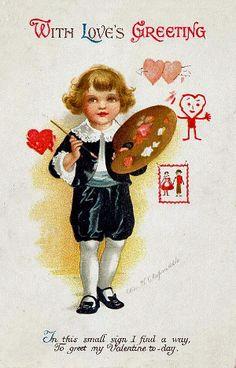 Little artist Valentine postcard by Ellen H. Clapsaddle