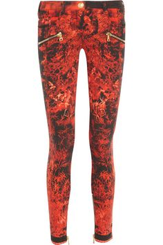 Balmain printed cotton-blend skinny jeans