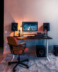 Home Studio Setup, Music Studio Room, Recording Studio Home, Home Office Setup, Home Office Space, Home Office Design, House Design, Office Ideas, Gaming Room Setup