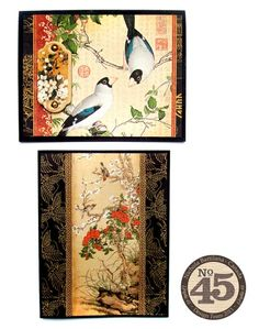 two delightful cards ... Asian theme ... Graphic45 papers ... Birdsong_Belt Card ... birds in trees ...